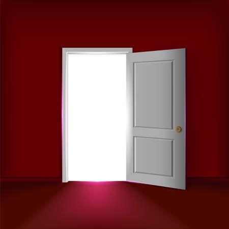 Vector open door concept. Lighting opened door at the red wall in an empty room. Vettoriali