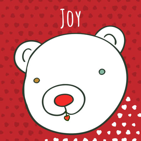 Joy art card. Vector bear illustration. Greeting card or invitation template for children design. 일러스트