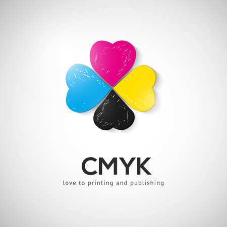 Abstract vector CMYK logo concept. Printing technology emblem. Polygraphic colors.