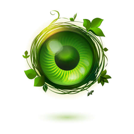 international monitoring: Eco friendly vector illustration. Green technology symbol. Live concept. Illustration