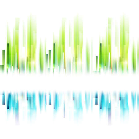 Seamless abstract urban silhouette. Vector ecology background. Blue and green lines with place for text. Abstract landscape concept