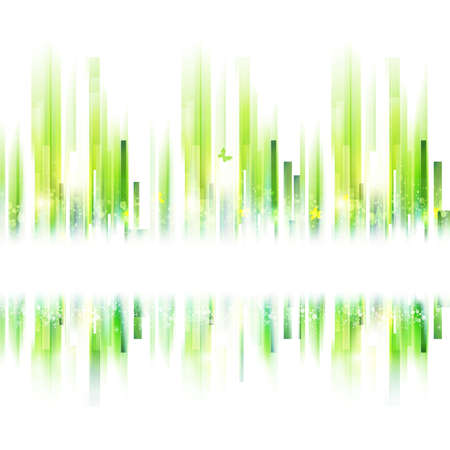 Seamless abstract summer urban background. Vector ecology frame. Green lines with place for text. Vettoriali