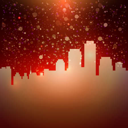 atmospheric: Dark red city sky with stars background. Vector illustration for hot party invitation and magic touristic offer design.