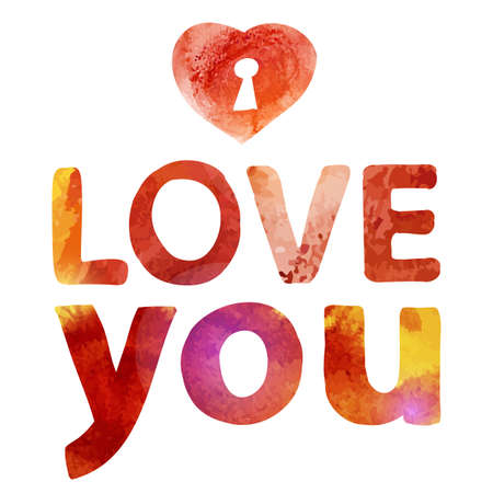 heart sketch: Vector watercolor drawing love you typography with heart.  Sketch style lettering. Love you and Valentine