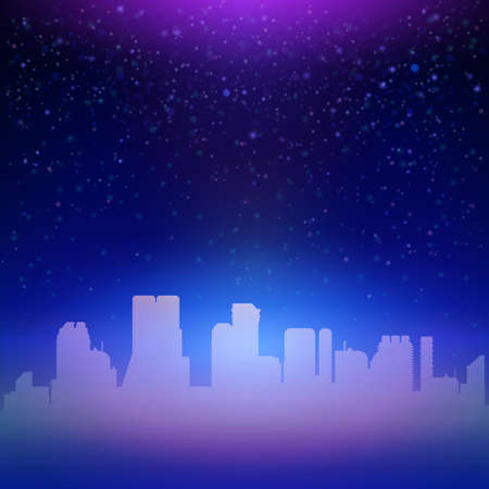 modern wallpaper: Night blue sky with stars background. Urban vector illustration for party invitation and touristic offer.