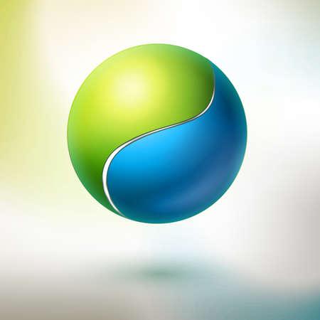 armonia: esfera parte verde y azul.