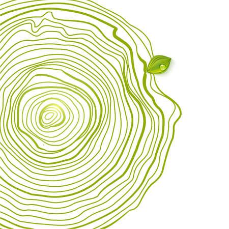 Natuurlijke houten cirkels met blad. Stock Illustratie