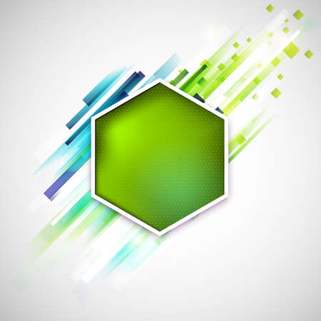 Abstract green label with modern geometric lines.