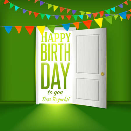 party room: Vector birthday party congratulations. Party invitation illustration. Colorful greetings elements. Illustration
