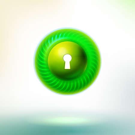 iluminacion led: Bot�n verde del c�rculo con el c�rculo llev� y ojo de la cerradura.