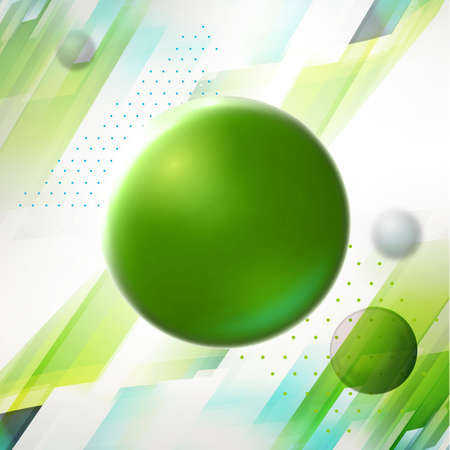 big timer: Big green ball at geometric background. Abstract science illustration. Molecule wallpaper.