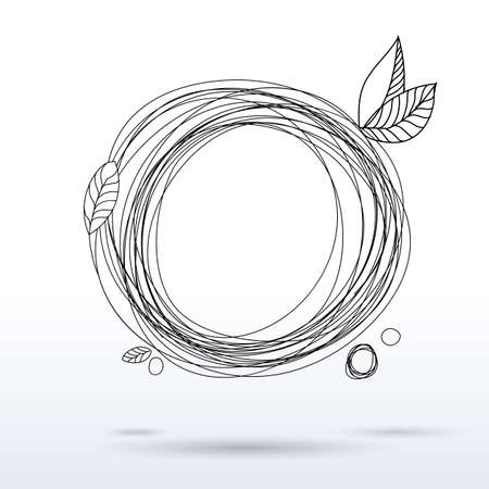 Doodle style en drawing circle frame. Hand drawing decorative sketch. Pen art. Linear graphics. Season sketch template. Circle spring banner.