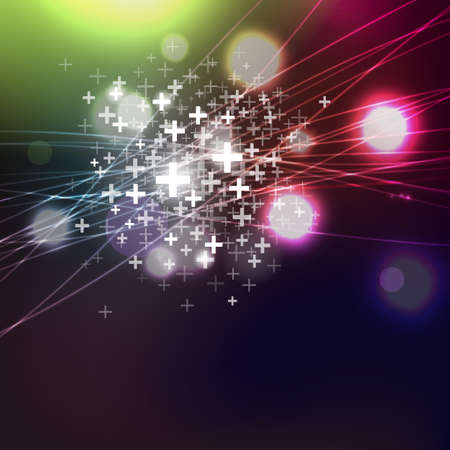 Colorful lights and pluses at dark backround. Abstract vector lighting waves and circles. Party invitation design elements.