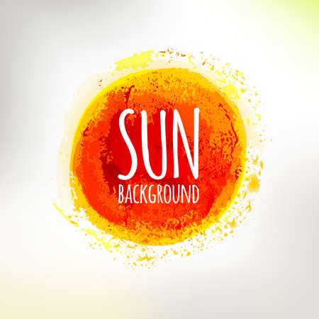 Hand drawing sun symbol. Summer hot colors circle illustration.