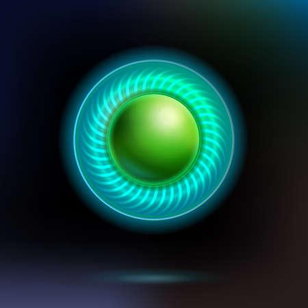 단일 개체: Lighting virtual technology button at dark background. Vector illustration. Single object for web banner, modern pages and invitation design.