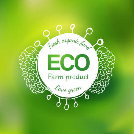 Watercolor vector green eco friendly hand drawing logo. Natural product label. Food icon design element. Vector