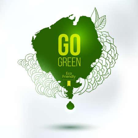 Go green blob. Vector green eco friendly hand drawing . Natural product label. Food design element. Vector