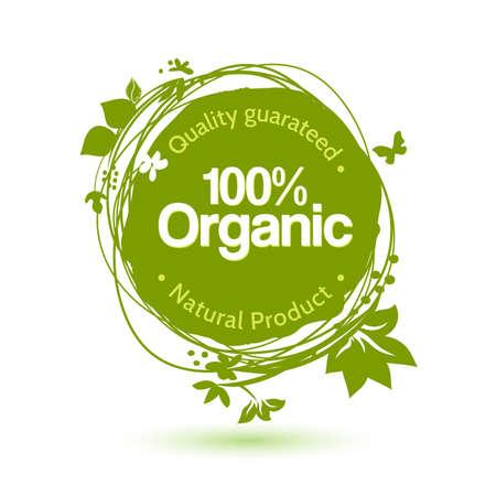 Vector acquerello schizzo etichetta per prodotto biologico. Disegno a mano cibo e bevande adesivo. Offerta Farm elemento di design. Archivio Fotografico - 37558669