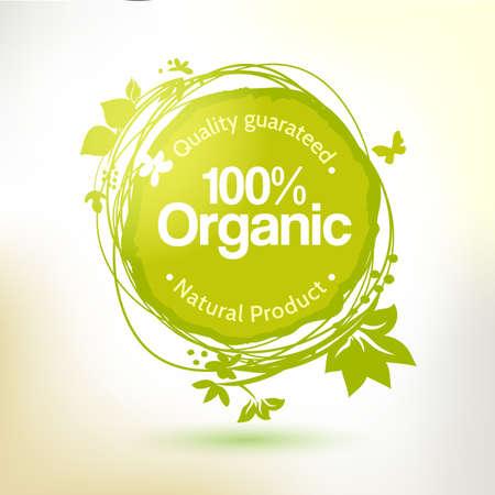 Vecteur aquarelle étiquette de dessin à la main pour les produits biologiques. Ensoleillé éclabousser été, des éléments d'esquisse. Élément de la nourriture naturelle. Croquis alimentaire et un autocollant de boisson. offre agricole.