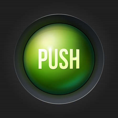 plactic: Green push button at dark plactic background. Illustration