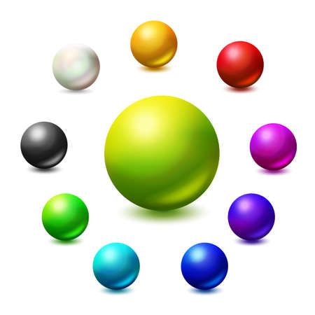 All colors and monochrome spheres. Colorfull vector palett. Bright colors realistic ball set. Vettoriali