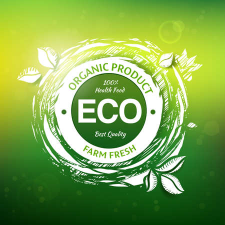 ECO: Organic product drawing stamp design.
