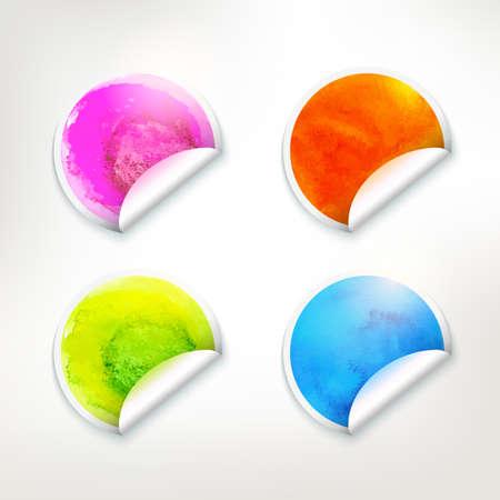 cuatro elementos: Vector acuarela diferentes colores pegatinas realistas fijados. Backrounds círculo brillante. Banderas de arte con textura. Cuatro elementos de idea. Vectores