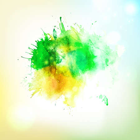 spalsh: Vector abstract eco friendly hand drawing watercolor spalsh at sky background. Creative design elements. Hand drawing art. Illustration