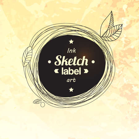 grunge frame: Floral ink drawing circle label. Illustration