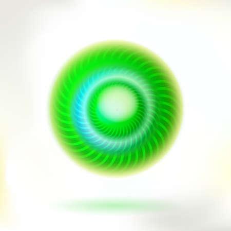 helix: Green circle helix button.  Illustration