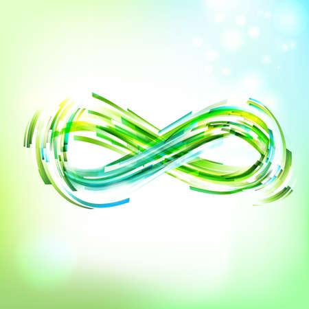 Infinity symbol at sky. Drawing linear decorative illustration. Logo presentation. Vettoriali