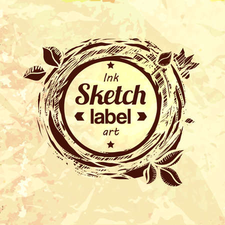 Natural product sketched stamp. Eco friendly food logo. Eco food vector label concept. Vector