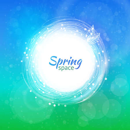 swirl backgrounds: Hand drawing swirl drawing with particles. Spring background.  Fresh season colors banner. Abstract vector circle. Linear sketch logo, ring art. Pen graphics outline element.