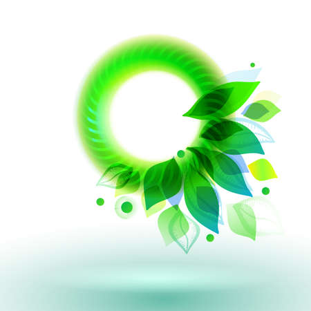 lighting button: Green circle with leaves vector illustration. Abstract season banner. Oxygen creative symbol.