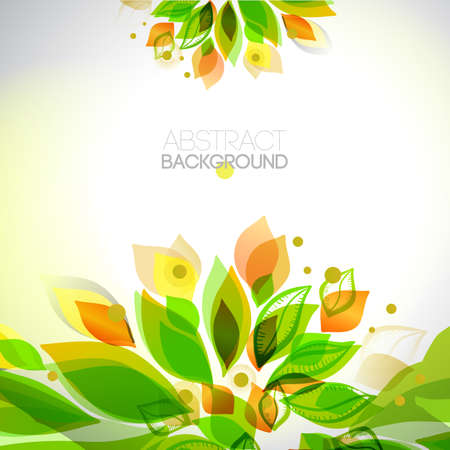 vibrance: Summer and spring floral decorative elements . Leaves border. Abstract decorative frame. Season design template. Illustration