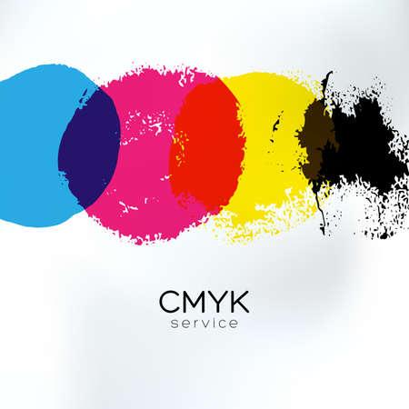 Vector CMYK tekenen identiteit. CMYK-afdruk service business achtergrond. Printtechnologie presentatie sjabloon. Huisstijlen kleuren banner. Stock Illustratie