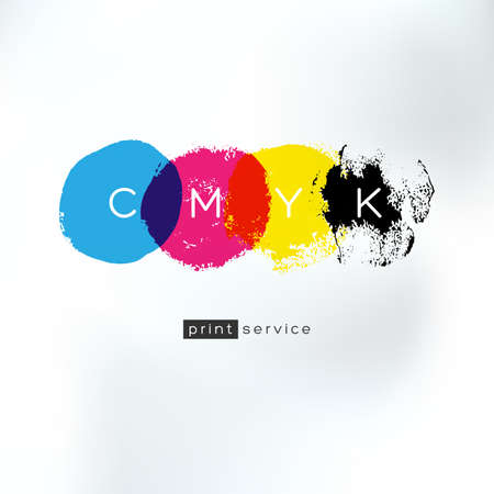 Vector CMYK drawing  concept. CMYK identity for print service business. Printing technology emblem. Polygraphic colors.
