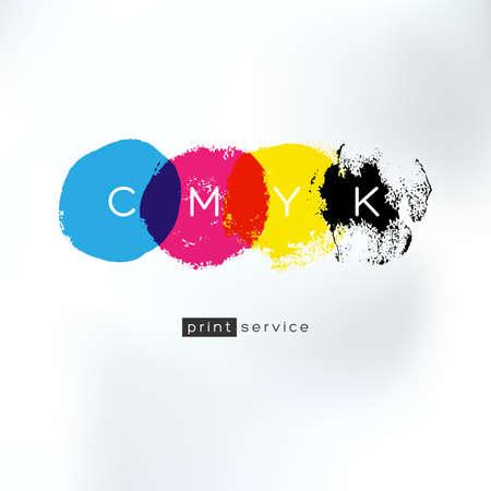 imprenta: Vector CMYK dibujo concepto. Identidad CMYK para el negocio de servicios de impresión. Impresión de la tecnología emblema. Colores poligráficas.