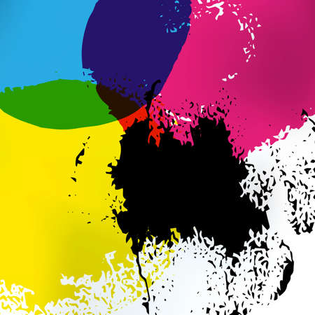 Vector CMYK circles art. CMYK print service business background. Printing technology presentation template. Polygraphic colors banner. Ilustração