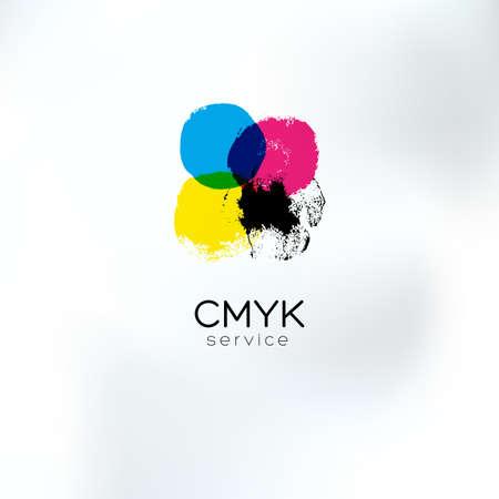 Vector CMYK tekening concept. CMYK doelwit voor drukkerij. Printtechnologie embleem. Polygraphic kleuren.