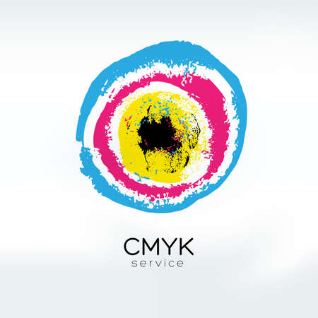 cmyk abstract: Abstract vector CMYK  concept. CMYK target. Printing technology emblem. Polygraphic colors. Illustration