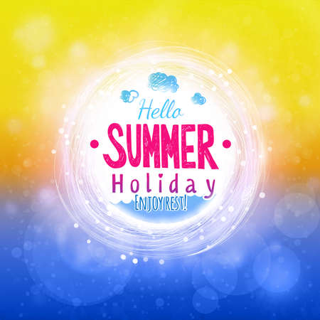 Hello summer sun and sea drawing card. Abstract holiday label design. Invitation element. Hot season colors graphics.