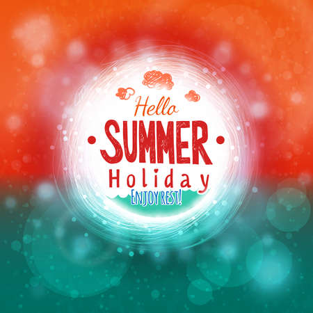 Hello summer sky and sea drawing card. Abstract holiday label design. Invitation element. Hot season colors graphics.