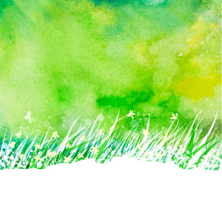 summer nature: Watercolor abstract background with hand drawing garden grass. Season summer nature illustration. Outdoor decorative label.