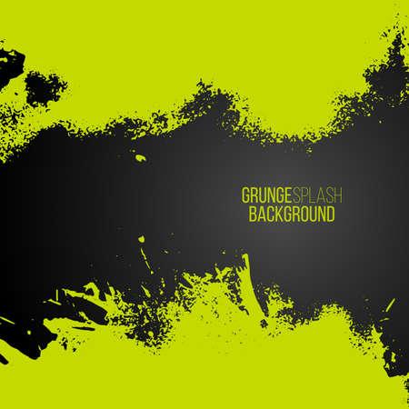 Grunge background with green splash frame. Vector illustration border. Creative hand-drawing banner. Invitation design elements.