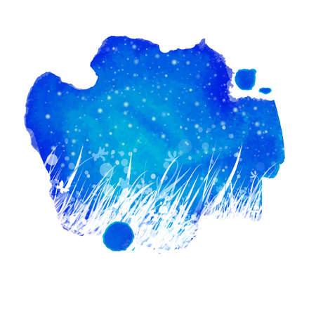 summer nature: Watercolor night blue abstract splash with hand drawing garden grass and stars. Season summer nature illustration. Outdoor decorative label. Illustration