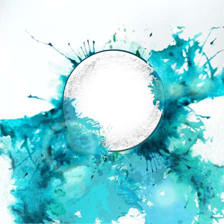 Pure steam sea watercolor and pencil drawing circle label. Vector design element. Splash background for nature aqua icon. Vettoriali