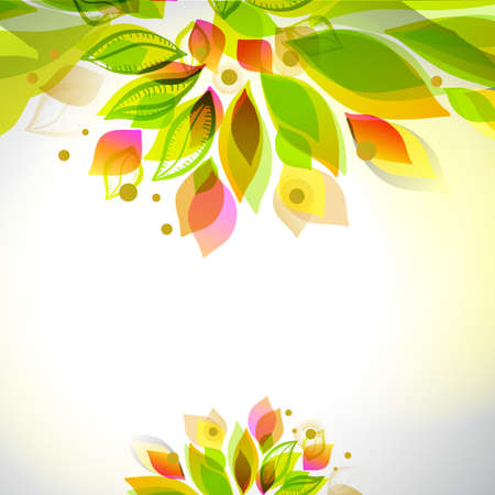 Summer and spring floral decorative element. Border with leaves. Abstract decorative frame. Season design template. Illustration