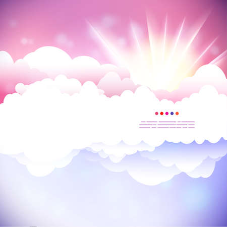 sun illustration: Vector drawing cloudy sky with sun illustration.