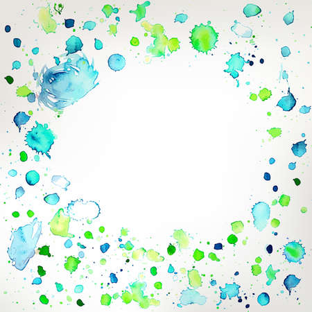 Vector watercolor frame. Background with hand drawing splashes. Abstract summer, spring illustration. Artwork for cards, banners and presentations.